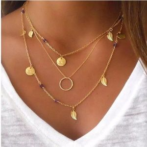 Boho Leaf Coin Multilayer Gold Pendant Necklace